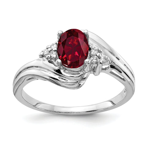14k White Gold 7x5mm Oval Created Ruby AA Diamond ring