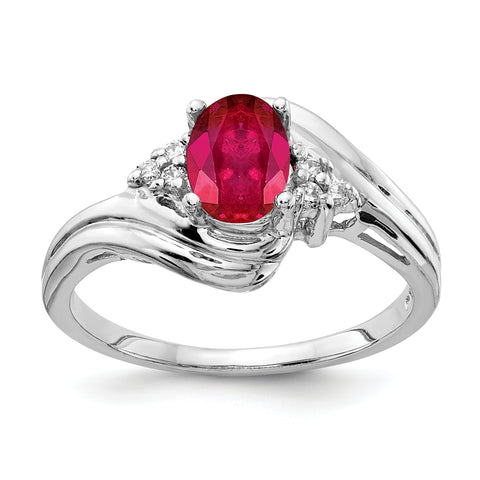 14k White Gold 7x5mm Oval Ruby AA Diamond ring