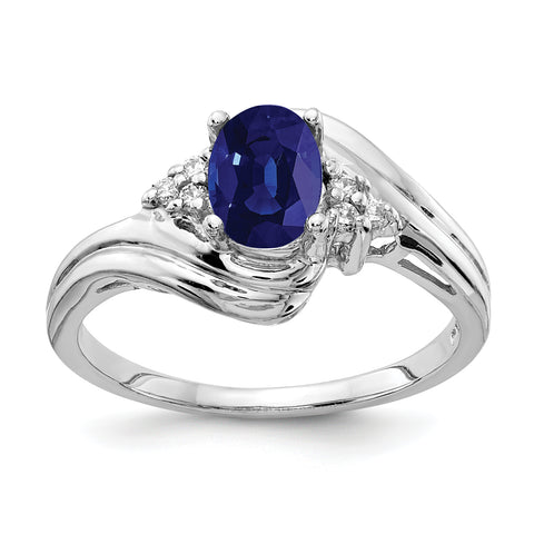 14k White Gold 7x5mm Oval Sapphire AAA Diamond ring