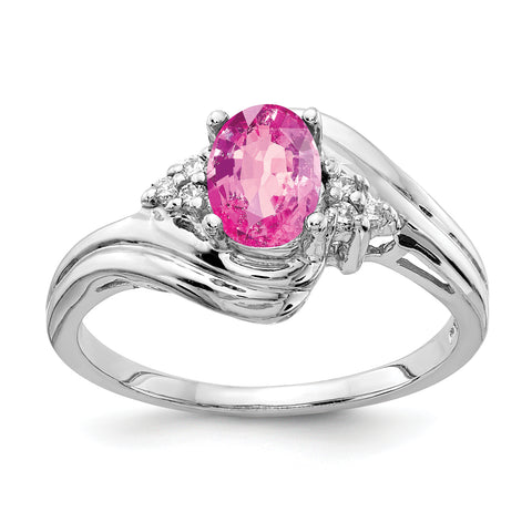 14k White Gold 7x5mm Oval Pink Sapphire AAA Diamond ring
