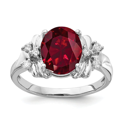 14k White Gold 10x8mm Oval Created Ruby AA Diamond ring