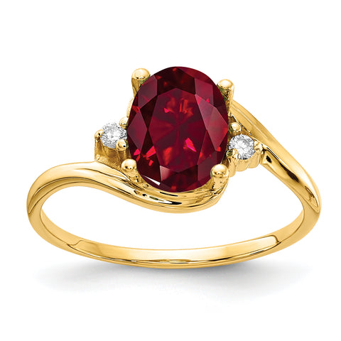 14k 8x6mm Oval Created Ruby A Diamond ring