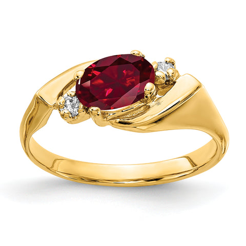 14k 7x5mm Oval Created Ruby A Diamond ring