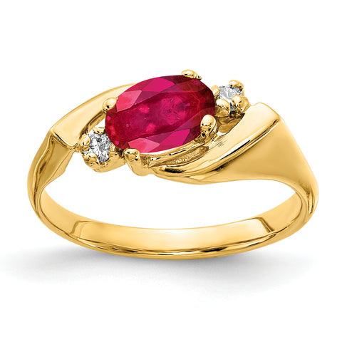 14k 7x5mm Oval Ruby VS Diamond ring