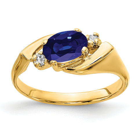 14k 7x5mm Oval Sapphire AAA Diamond ring