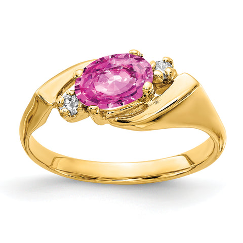 14k 7x5mm Oval Pink Sapphire AAA Diamond ring
