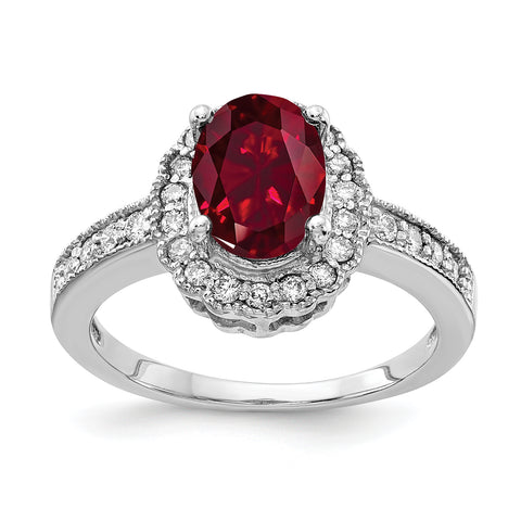 14k White Gold 8x6mm Oval Created Ruby AA Diamond ring