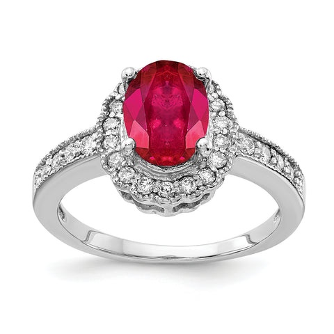 14k White Gold 8x6mm Oval Ruby VS Diamond ring