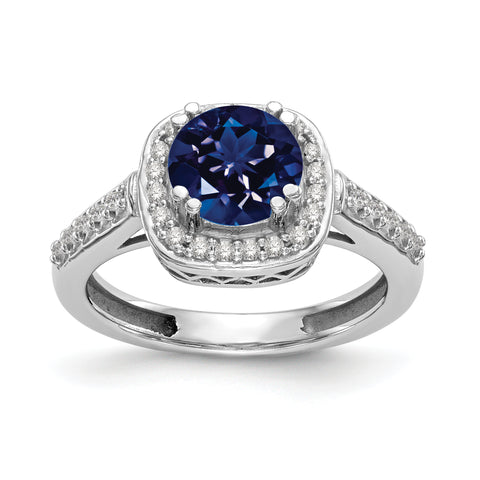 14k White Gold 6mm Sapphire A Diamond ring