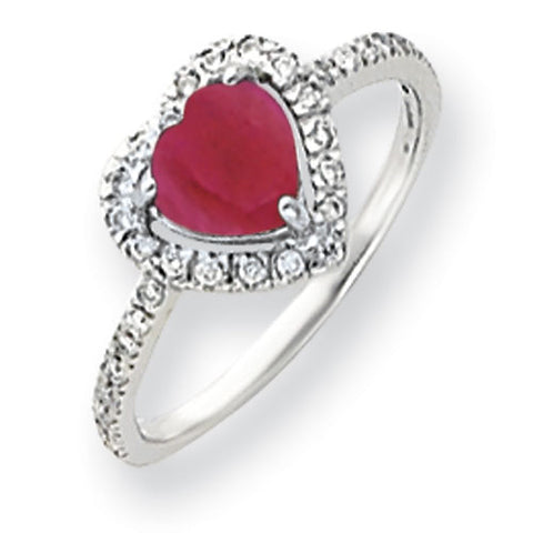 14k White Gold 6mm Heart Created Ruby AA Diamond ring