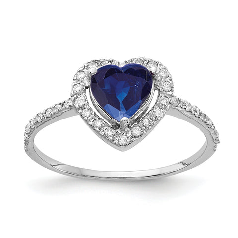 14k White Gold 6mm Heart Sapphire AA Diamond ring