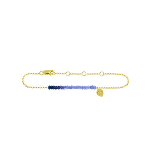 Blue Sapphire Bead 14k gold Anklet