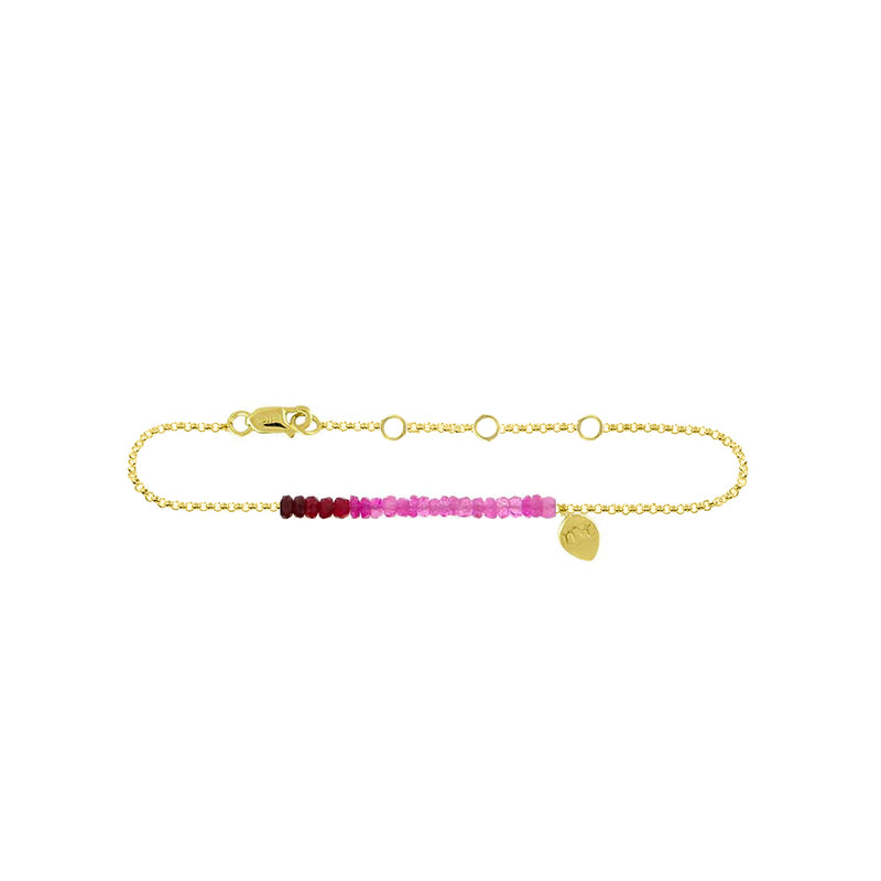 Ruby Bead 14k gold Anklet