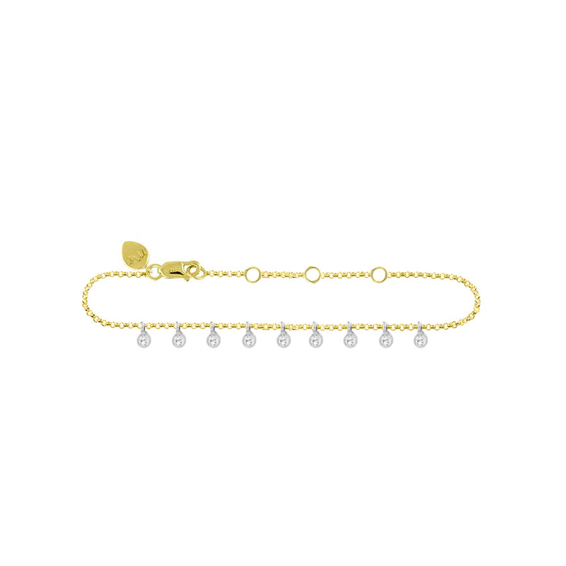 Diamond Bezel 14k gold Anklet