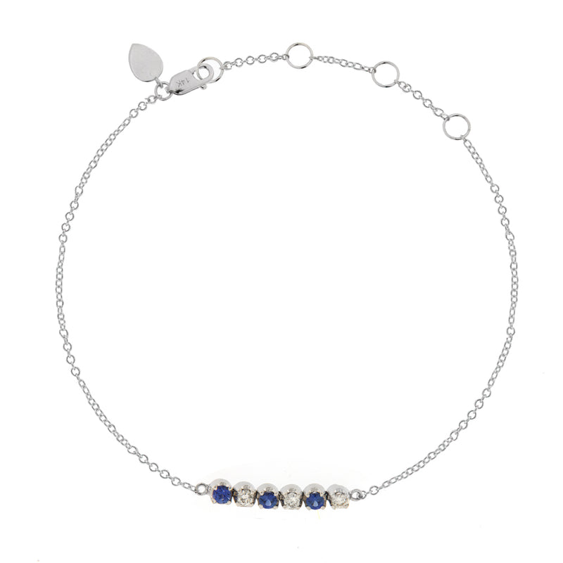 Diamond and Blue Sapphire Tennis Chain Bracelet