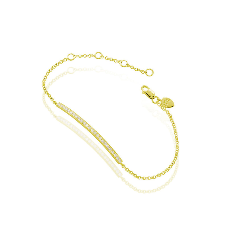 Yellow Gold Diamond Bar Chain Bracelet