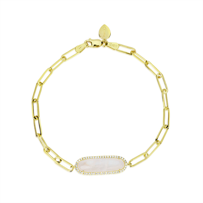 14k Yellow Gold Moonstone Bracelet