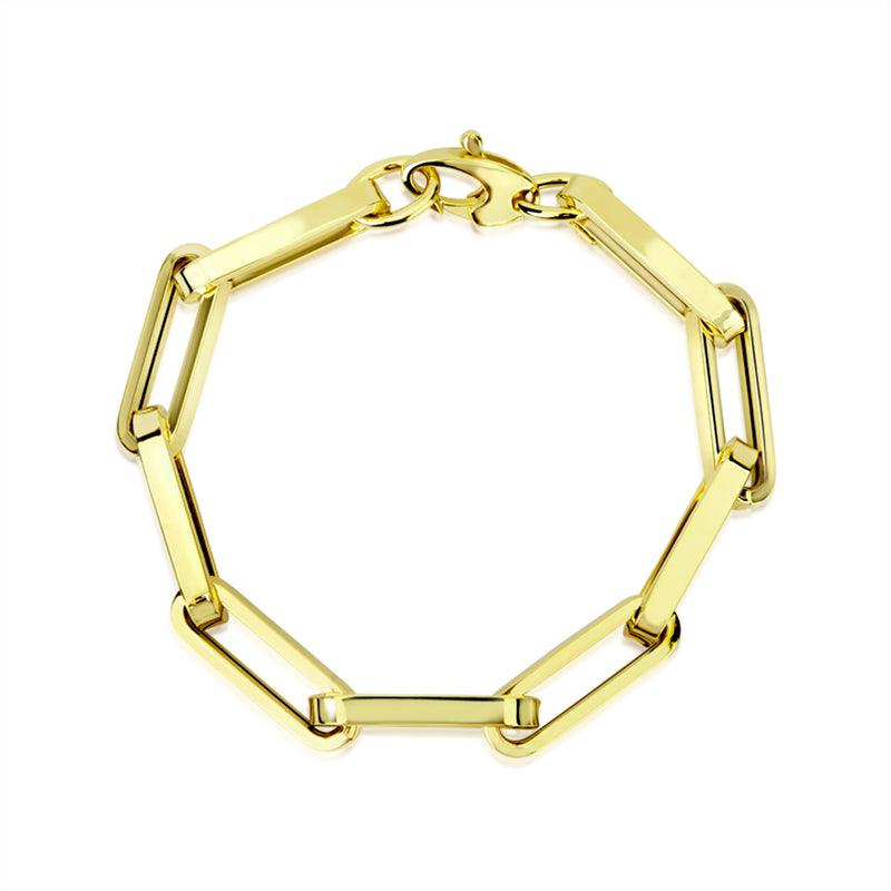 Yellow Gold Rectangular Chain Bracelet