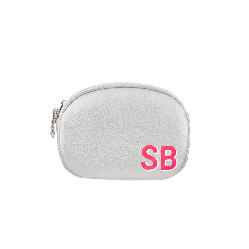 Hand painted Monogram Silver Belt Bag with Chain Belt Strap and Evening Strap