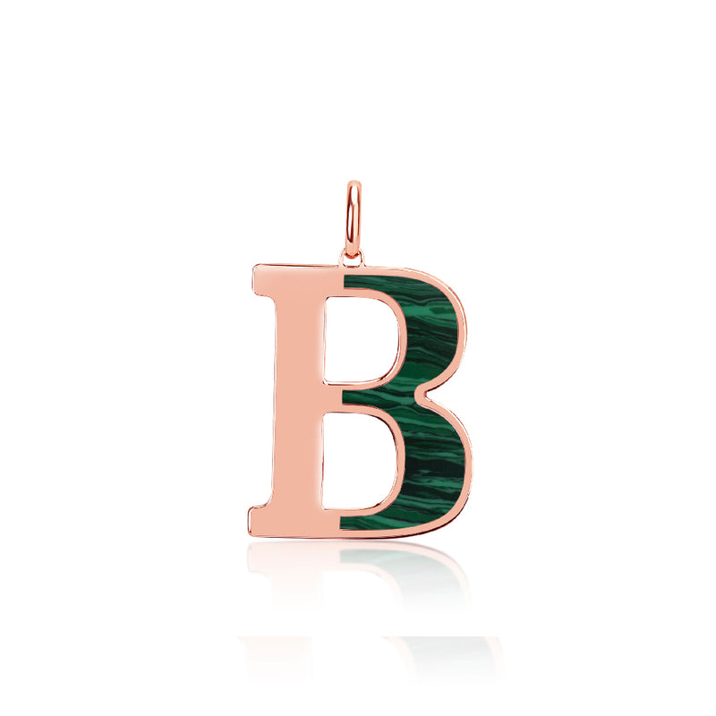 Custom Rose Gold Malachite Enamel Initial Charm