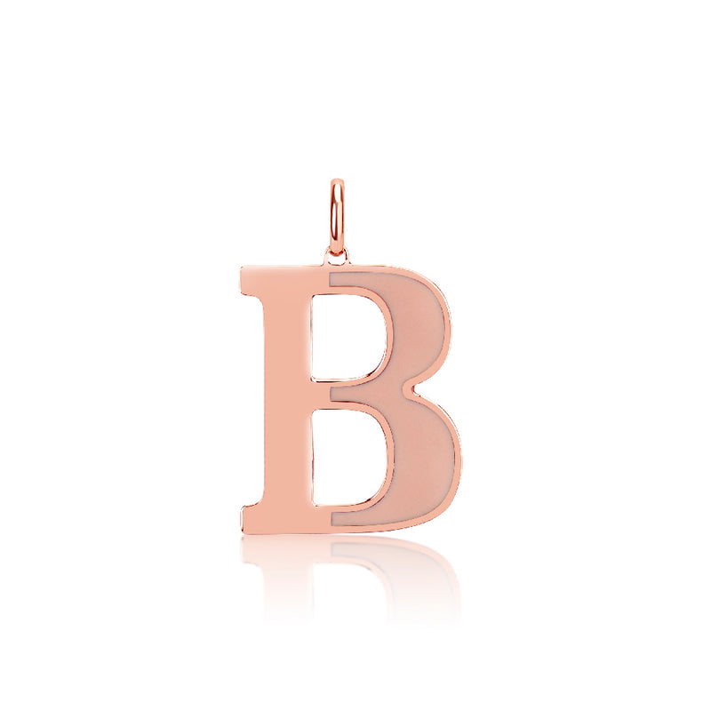 Custom Rose Gold Blush Enamel Initial Charm