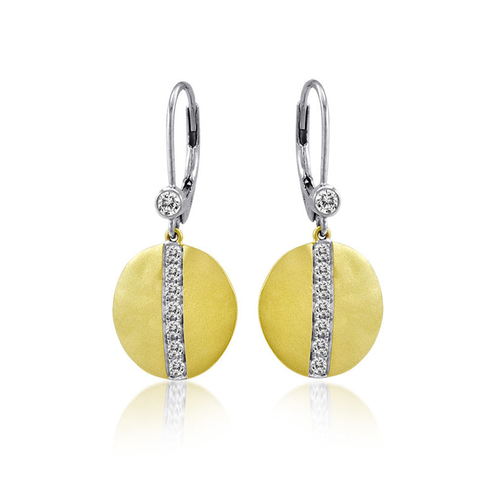 Yellow Gold and Pave Diamond Disc Earrings