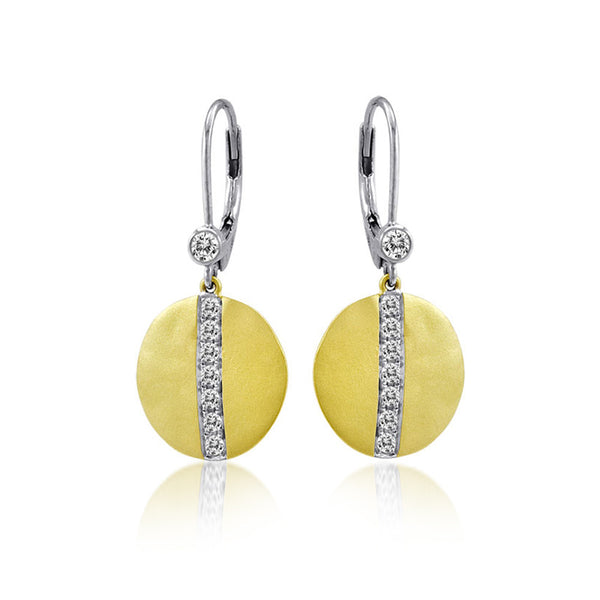 Gold Diamond Pave Disc Earrings Meira T