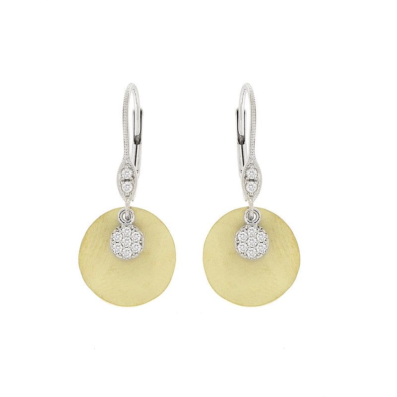 White and Yellow Gold Earrings with Pave Charms