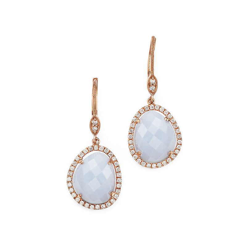 Chalcedony and Rose Gold Diamond Earrings