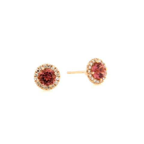 Ruby Studs With Diamond Border