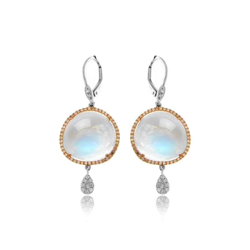 Rose Gold Moonstone Drop Earrings