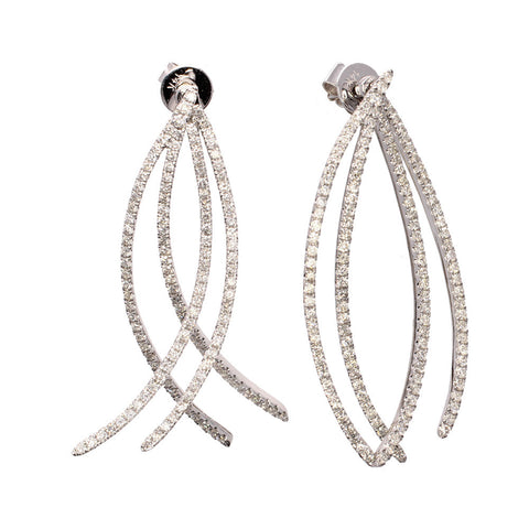 White Gold Diamond Swinging Earrings