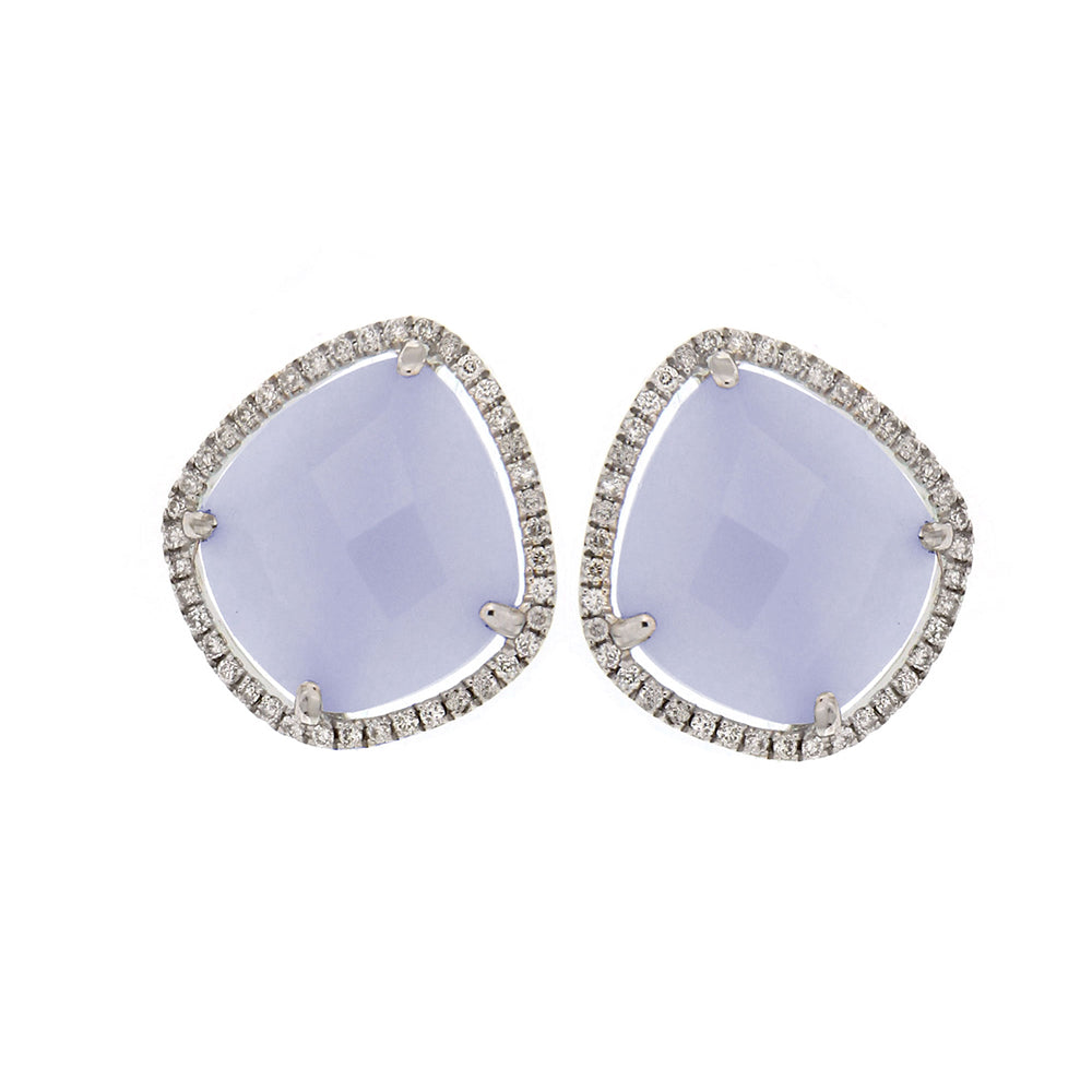 White Gold Chalcedony Earrings