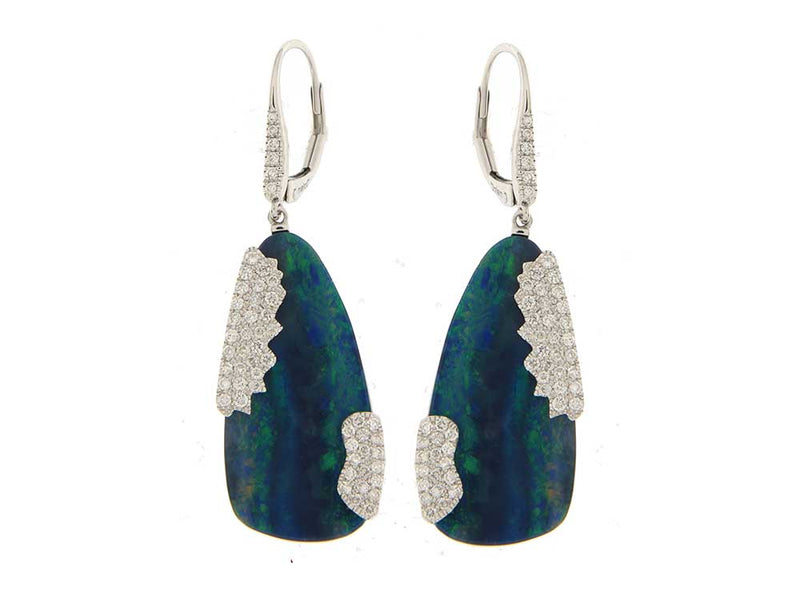 White Gold Diamond Opal Earrings