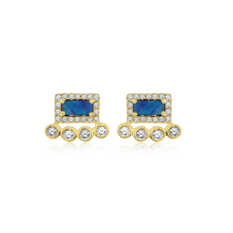 Blue Opal and Diamonds Stud