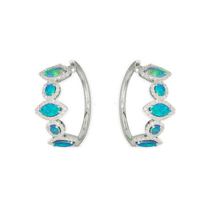 White Gold Opal Hoops