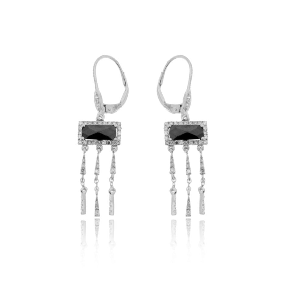 White Gold Hematite Dangle Earrings