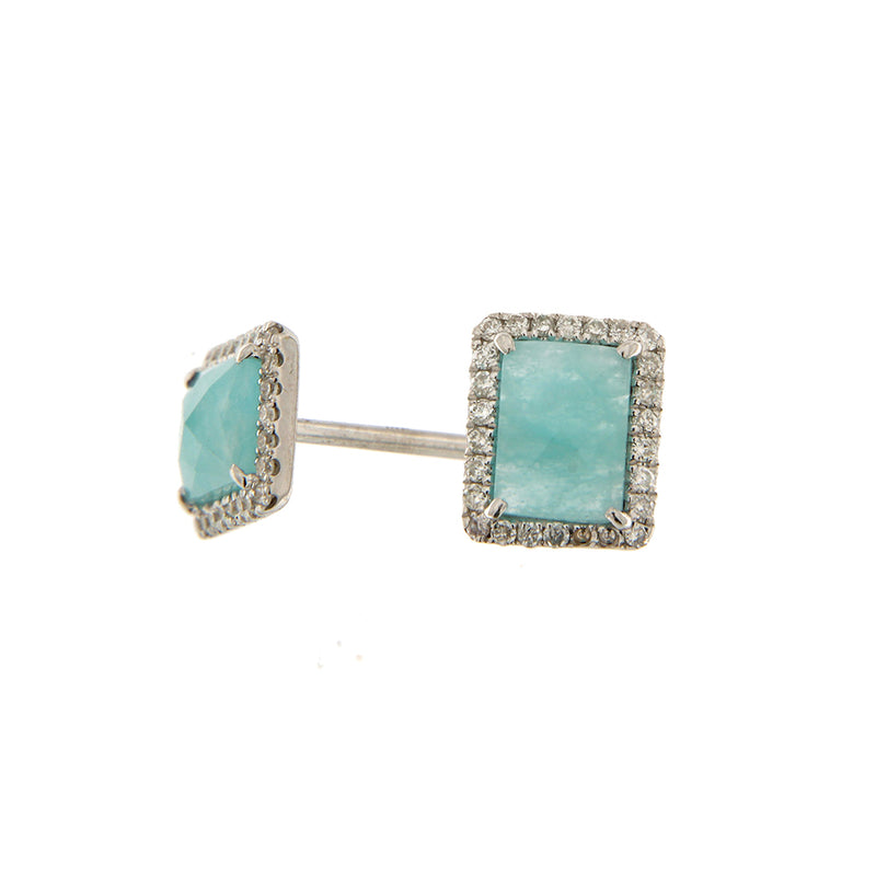 White Gold Diamond Amazonite Studs