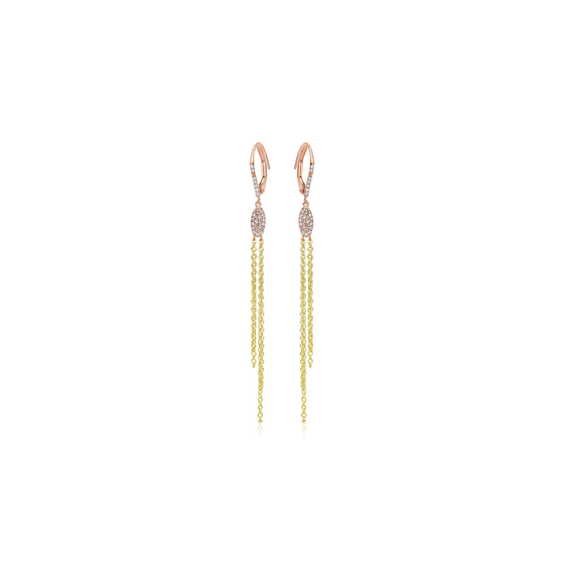 Rose and Yellow Gold Fringe earrings
