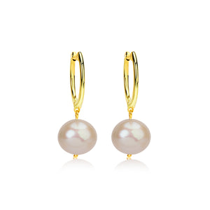 Yellow Gold Pearl Statement Earrings