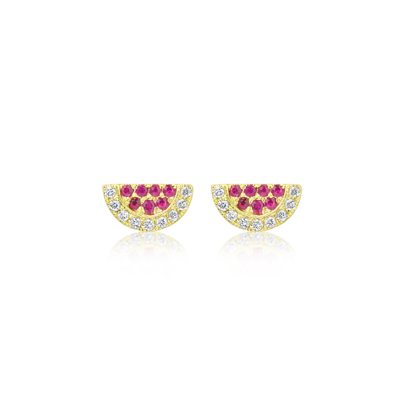 Yellow Gold and Ruby Earrings