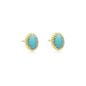 Turquoise and Diamond Stud