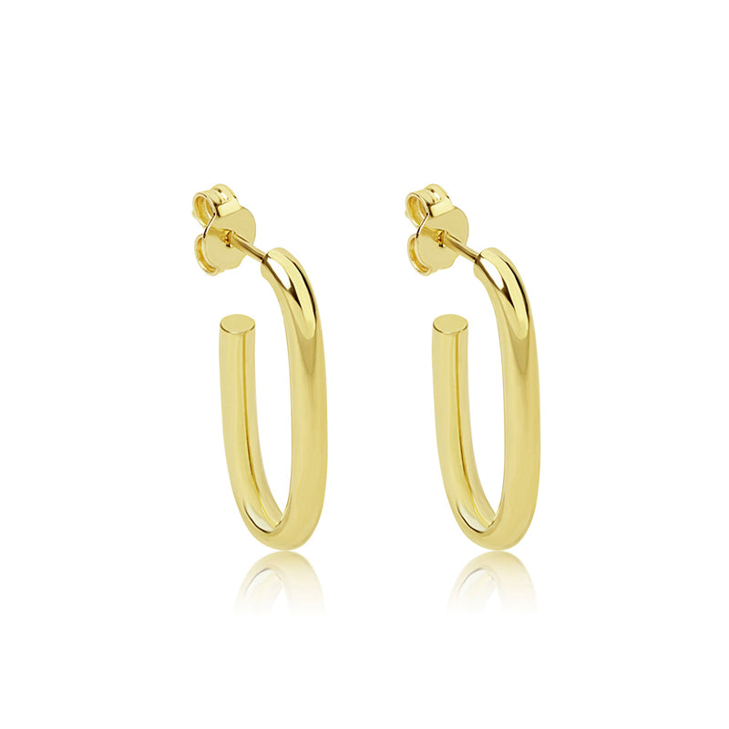 14k Medium Gold Oval Hoops