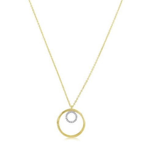 Yellow Gold and Diamond Open Circle Necklace