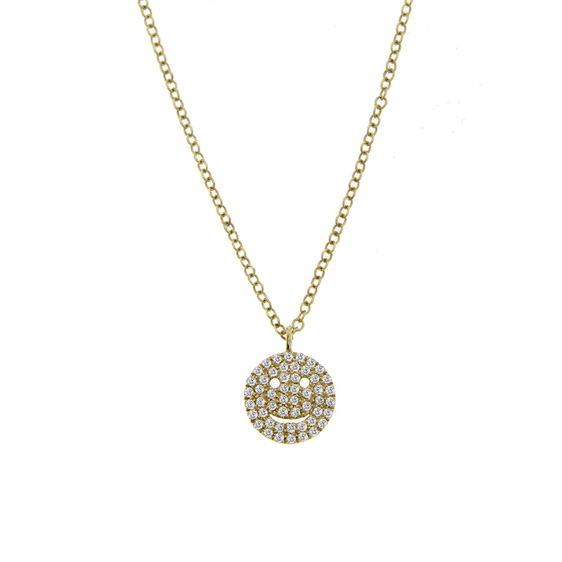 Yellow Gold Diamond Smiley Necklace