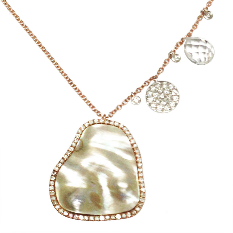 Mother of Pearl Rose Gold Diamond Necklace