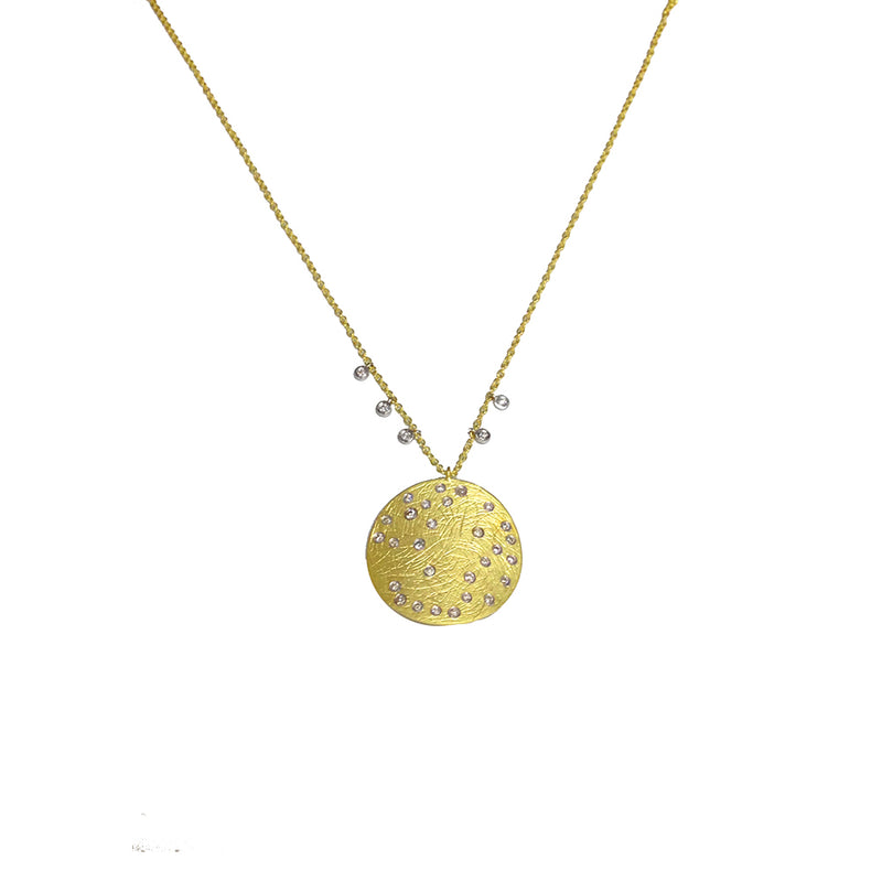 Yellow Gold Diamond Medallion Necklace