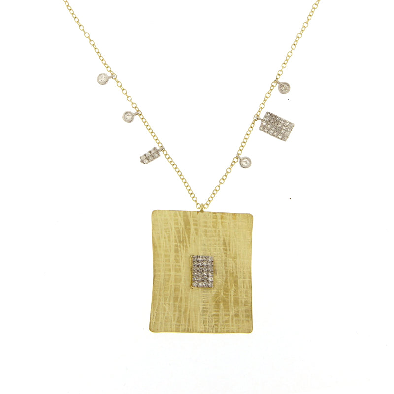 Yellow and White Gold Square Charm Necklace