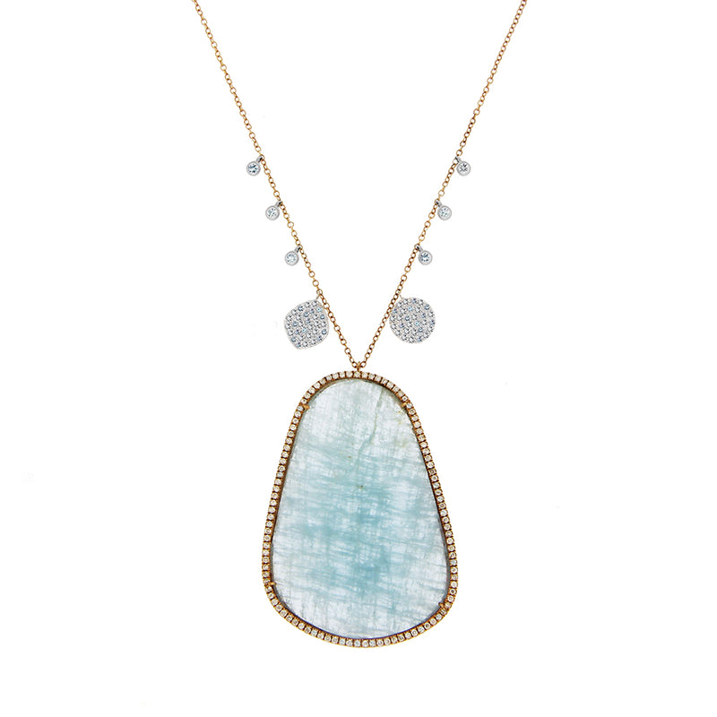 Stunning Milky Aqua Necklace One of  Kind
