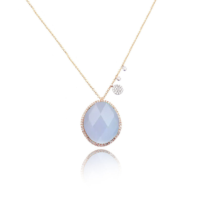 Chalcedony and Rose Gold Diamond Necklace
